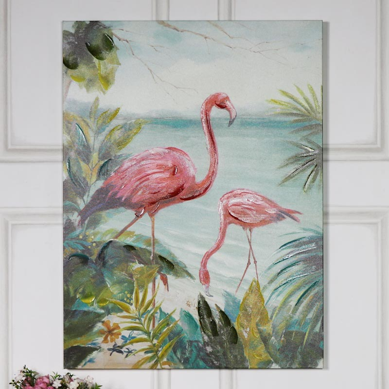 Large Bright Pink Flamingo Wall Canvas Oil Painting
