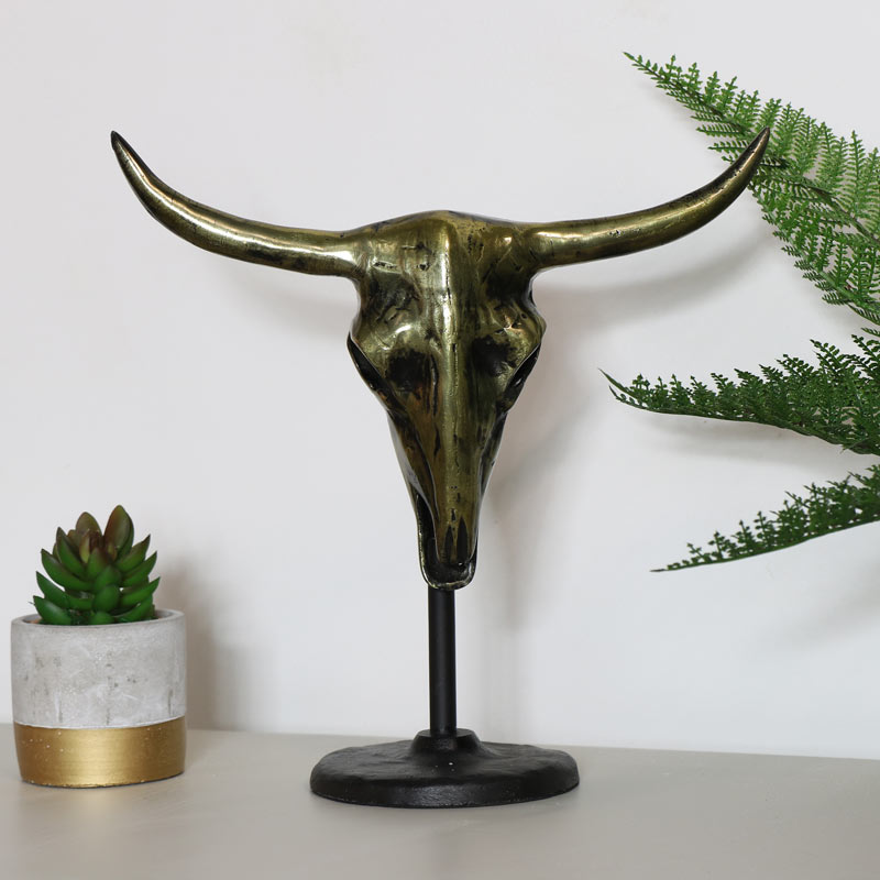 Large Bronzed Buffalo Skull on Stand