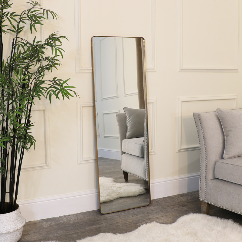Large Brushed Gold Wall / Floor / Leaner Mirror 47cm x 142cm