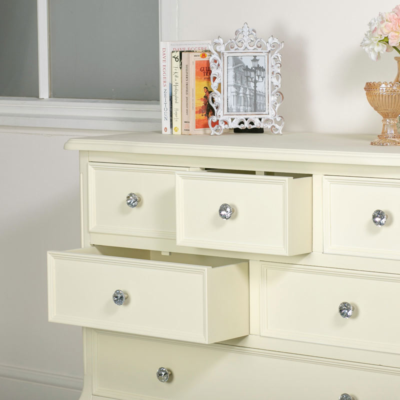 Cream 6 drawer Chest of Drawers - Elise Cream Range