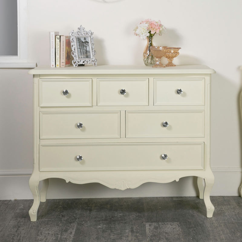 los angeles 67422 46f4d Cream 6 drawer Chest of Drawers - Elise Cream Range