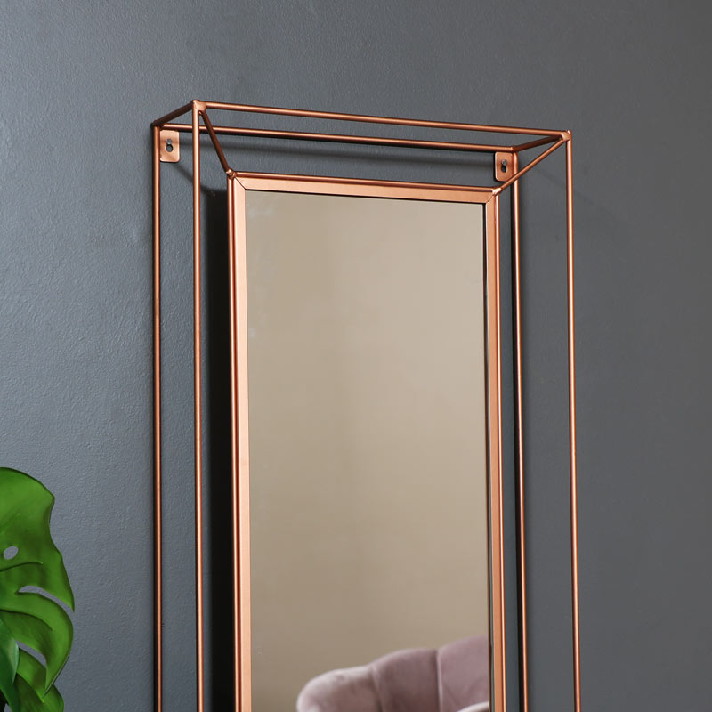 Large Copper Metal Framed Wall Mirror 38cm x 114cm