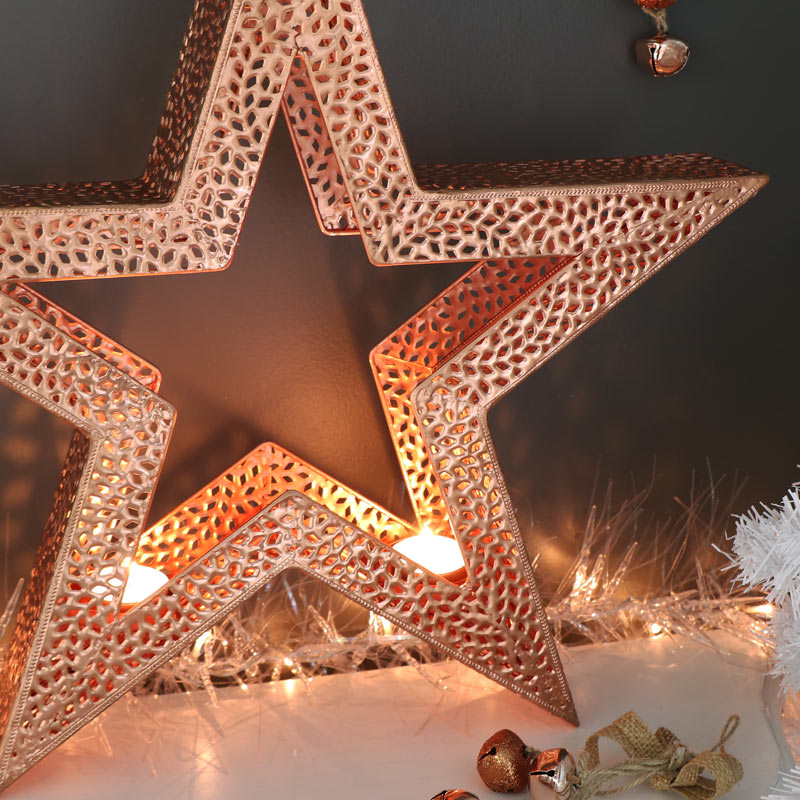 Large Copper Star Tealight Candle Holder