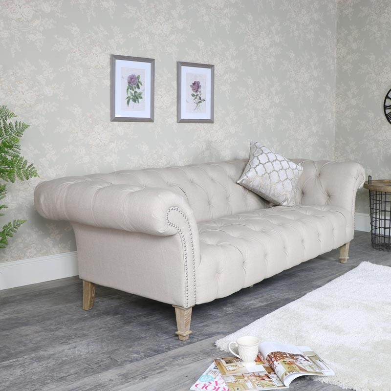 Large Cream Fabric 3 Seater Button Back Sofa ...