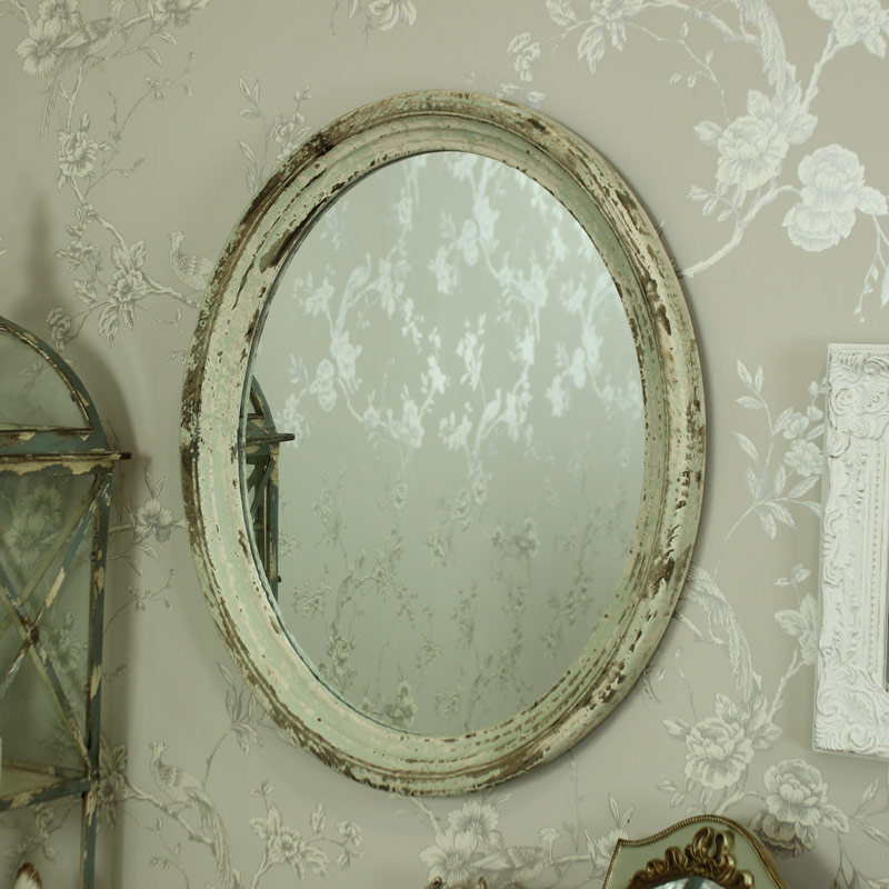 Large Cream Green Rustic Oval Wall Mirror