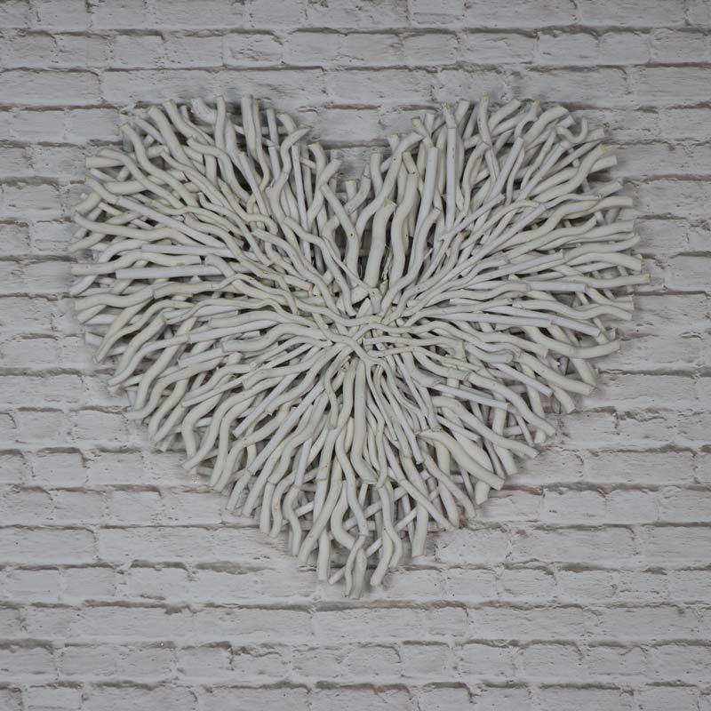 Large Cream Twig Heart Wall Art