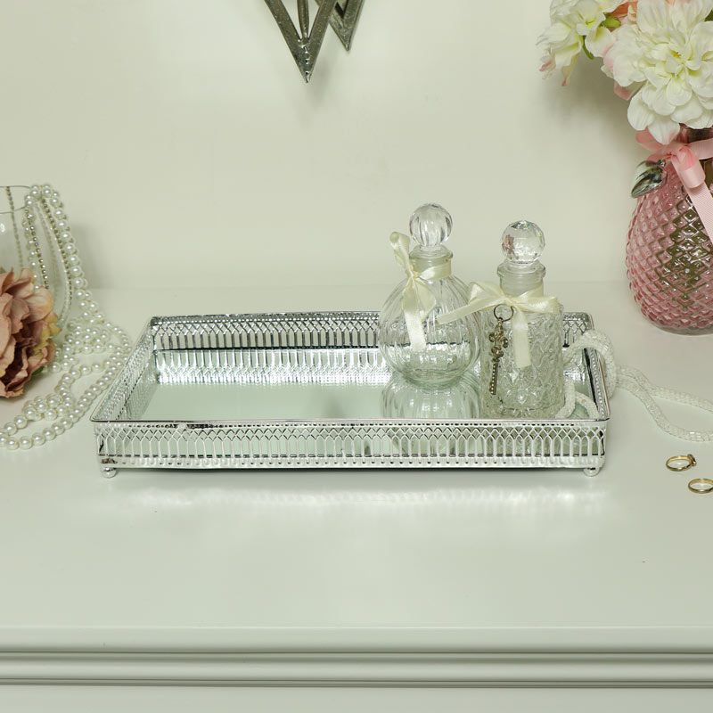 Large Decorative Silver Mirrored Display Tray