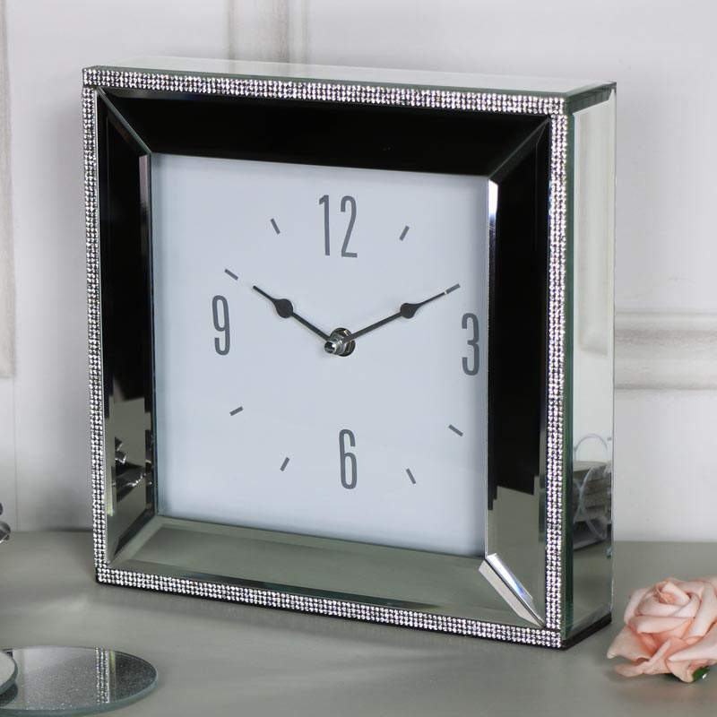 Large Diamante Mirrored Mantel Clock Melody Maison 174
