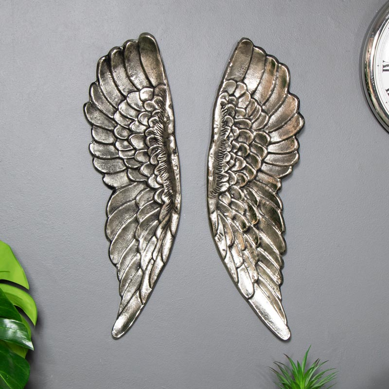 Large Distressed Silver Wall Mountable Wings