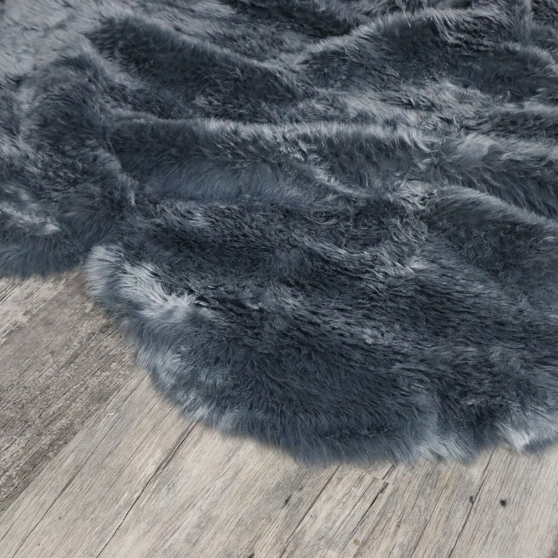 Large Four Pelt Grey Faux Fur Rug 130cm X 200cm