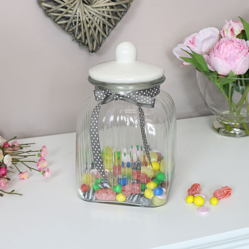 Large Glass Ribbed Storage Jar with White Ceramic Lid