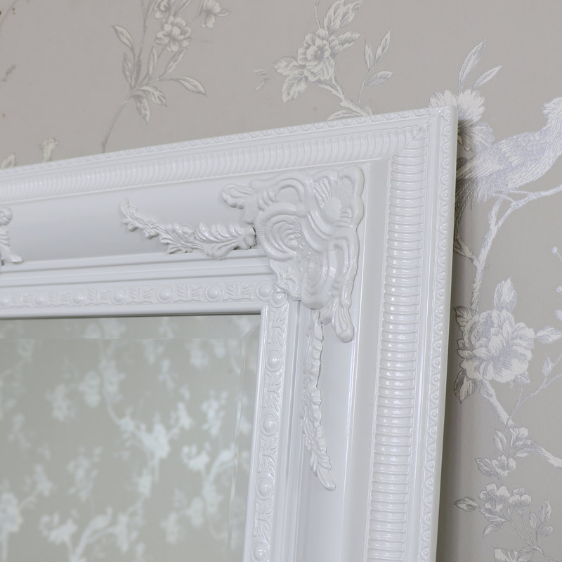 extra large ornate gloss white wall mounted bevelled mirror shabby vintage chic ebay. Black Bedroom Furniture Sets. Home Design Ideas
