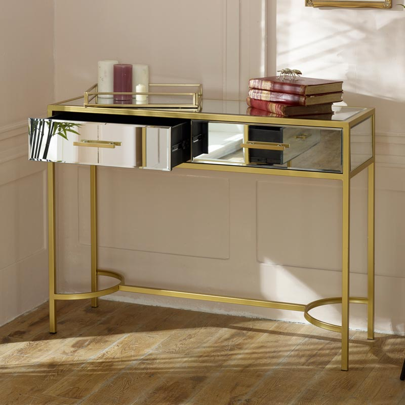 Gold Frame Mirrored Console Table - Venus Range