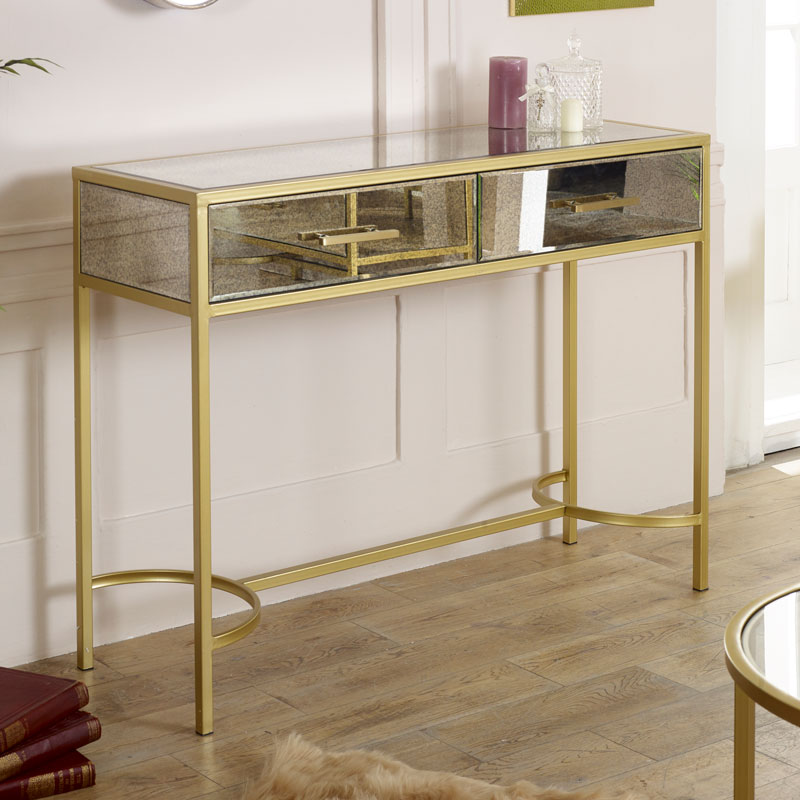 Large Gold Framed Antique Mirrored Console Table - Cleopatra Range