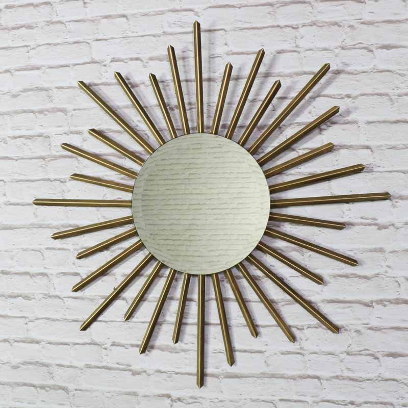 Large Gold Metal Sunburst Wall Mirror Melody Maison 174