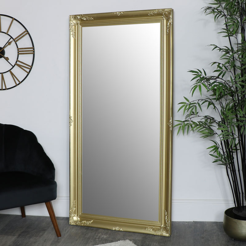 Large Gold Ornate Wall Floor Mirror 158cm X 78cm Melody Maison