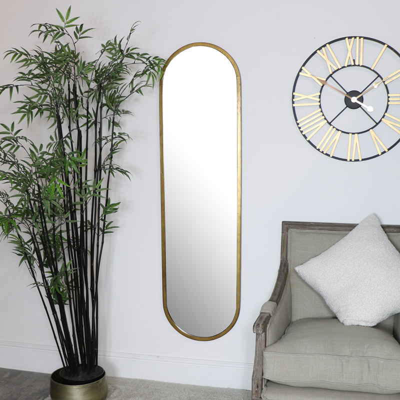 Large Gold Oval Mirror 42cm X 156cm, Full Length Oval Wall Mirror
