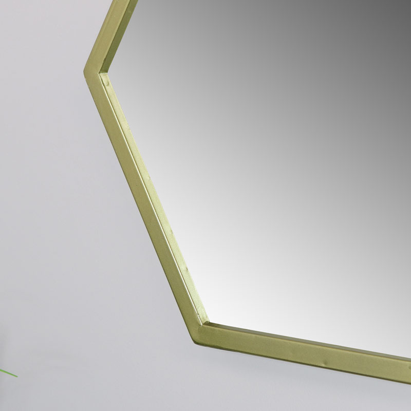Gold Wall Mirror in Hexagonal Frame 45cm x 45cm