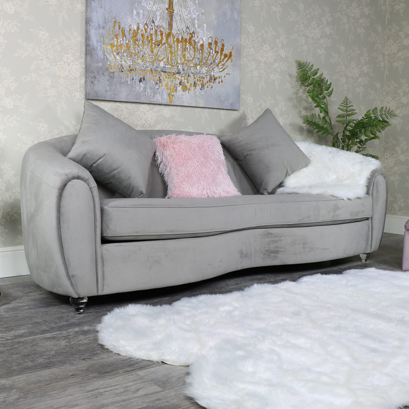 Large Grey 3 Seater Sofa with Scatter Cushions
