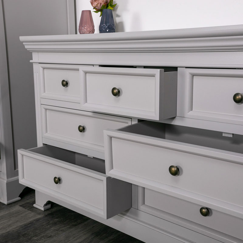 Large Grey 7 Drawer Chest of Drawers - Daventry Dove-Grey Range DAMAGED SECOND 3099