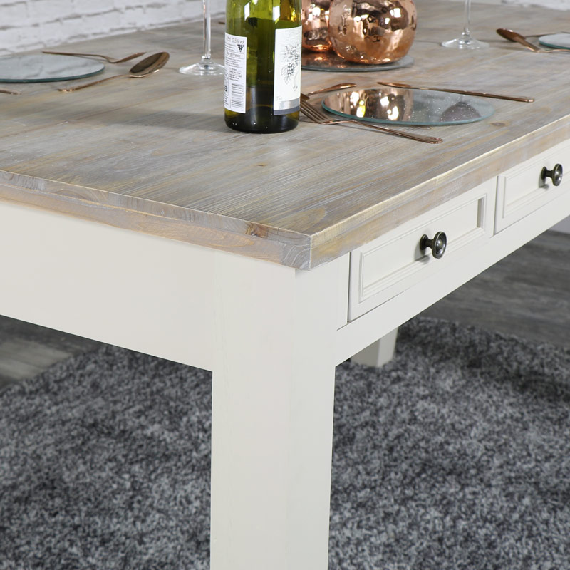 Large Grey 8 Drawer Dining Table - Cotswold Range