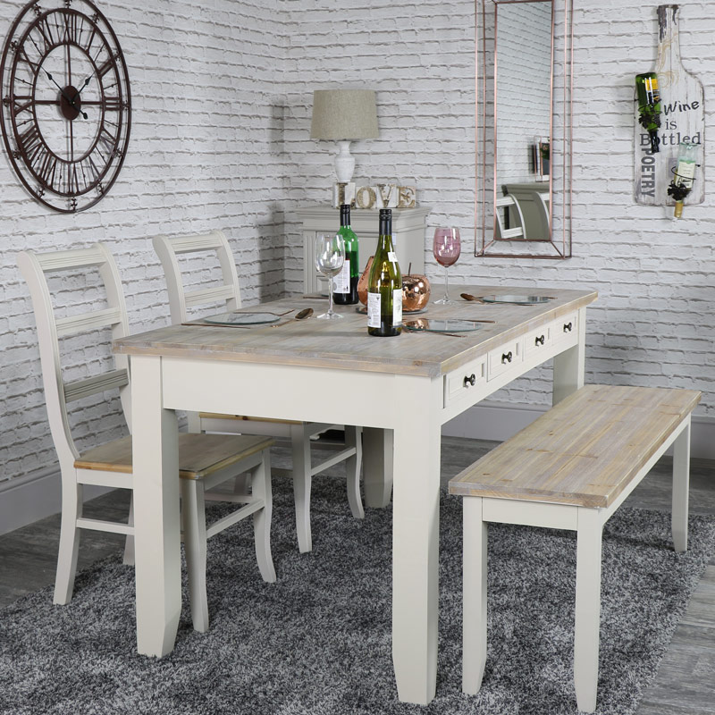 Dining Table Chairs And Bench: Large Grey 8 Drawer Dining Table With Bench And 2 Chairs