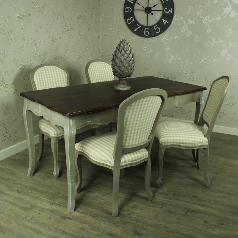 Large Grey Dining Table With 4 Padded Chairs