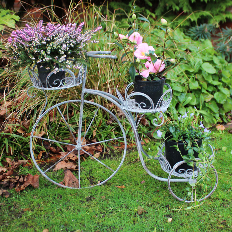 Large Grey Metal Tricycle Garden Plant Pot Holder Melody