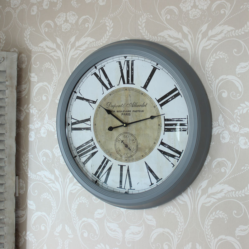 Large grey metal wall clock melody maisonr for Large wall clock uk