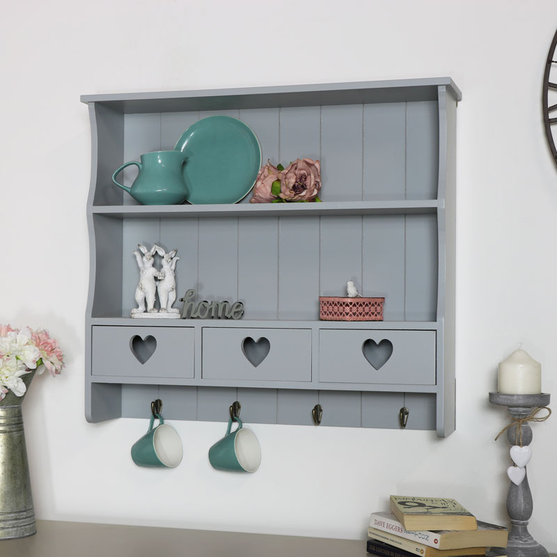 Large Grey Wall Shelf with Heart Drawer Storage