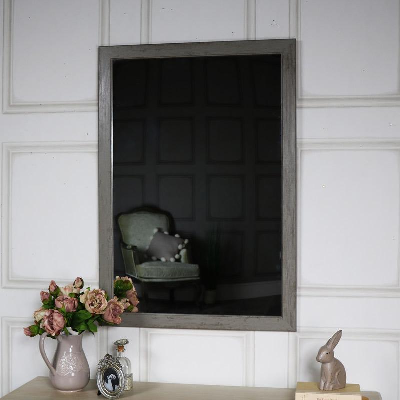 Large Grey Washed Wall Mirror 69cm x 99cm