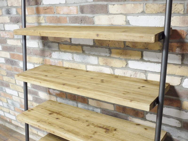 Large Wooden Industrial Ladder Style Shelving Unit