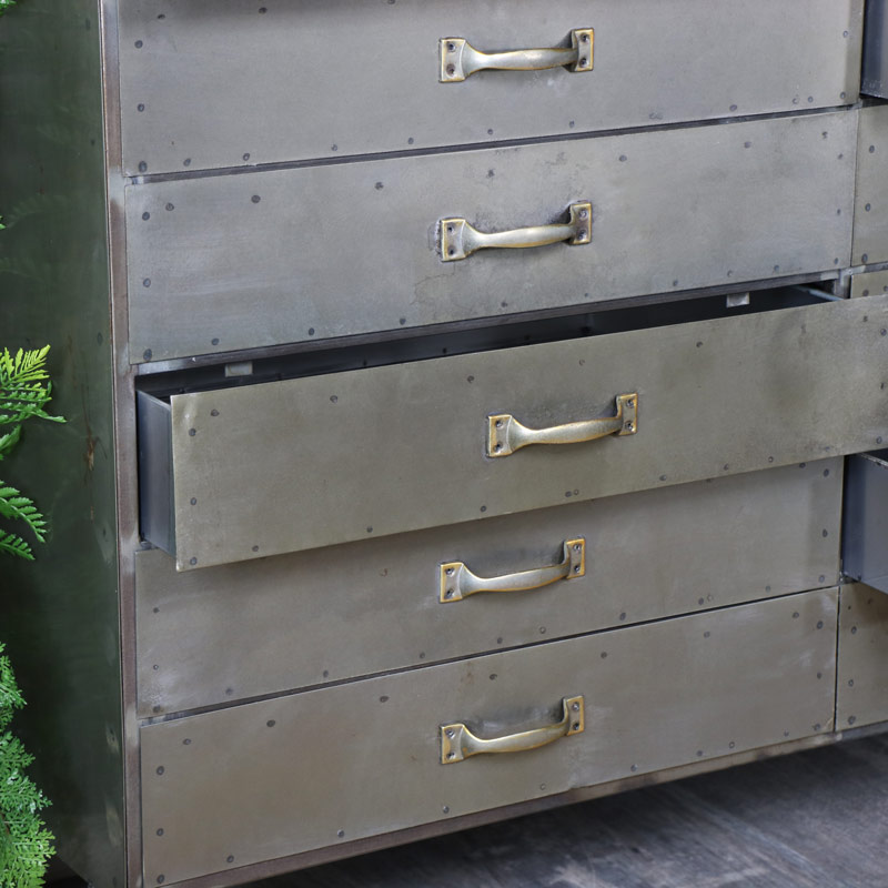 Large Industrial Metal Chest of Drawers