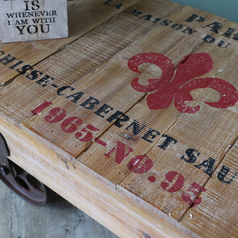 Large Coffee Table Industrial Style: Large Industrial Railway Cart Style Coffee Table