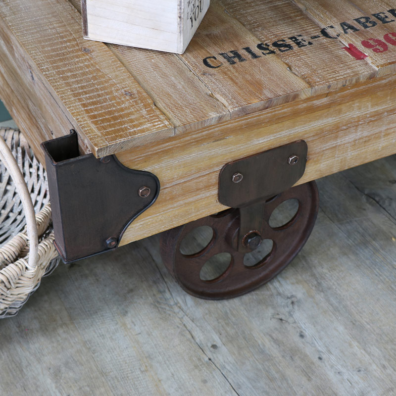 ... Large Industrial Railway Cart Style Coffee Table