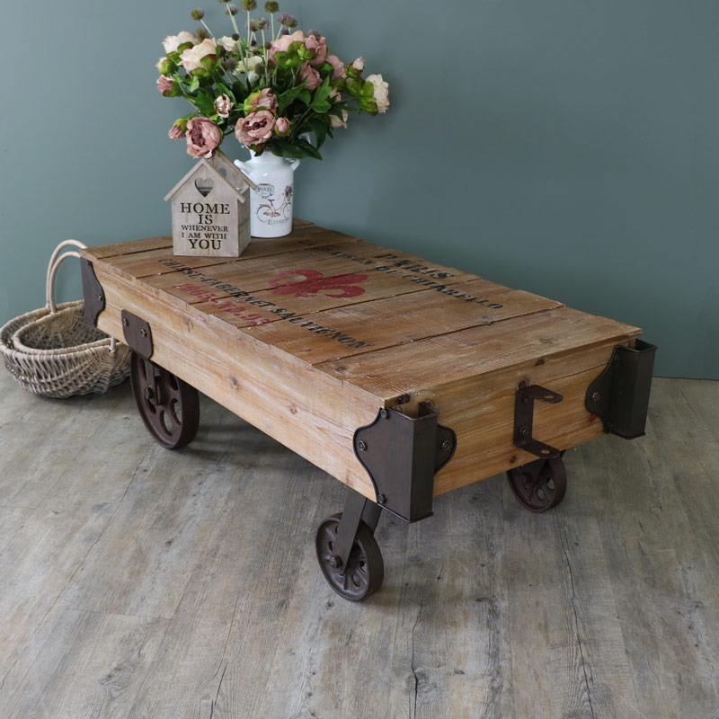 Large Industrial Railway Cart Style Coffee Table Part 86
