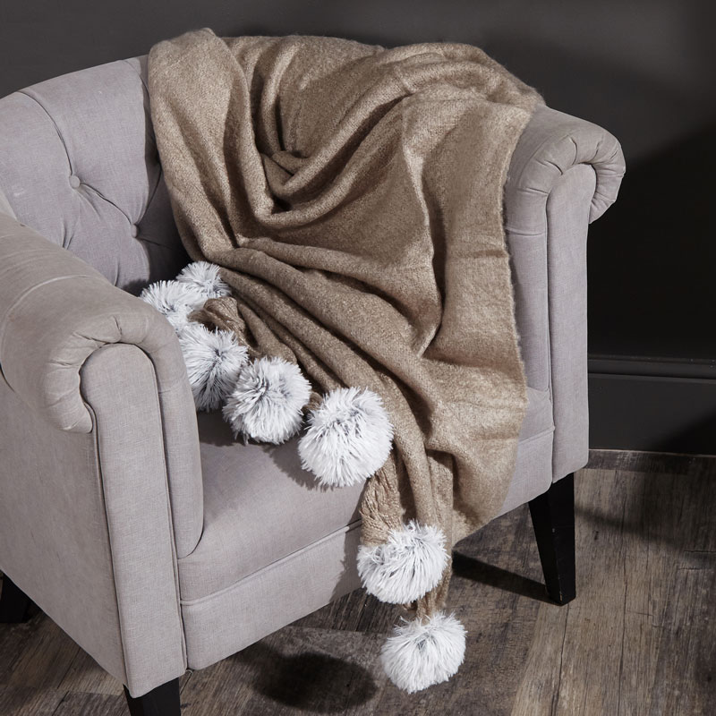 Large Knit Brown Throw Blanket With Pom-Poms