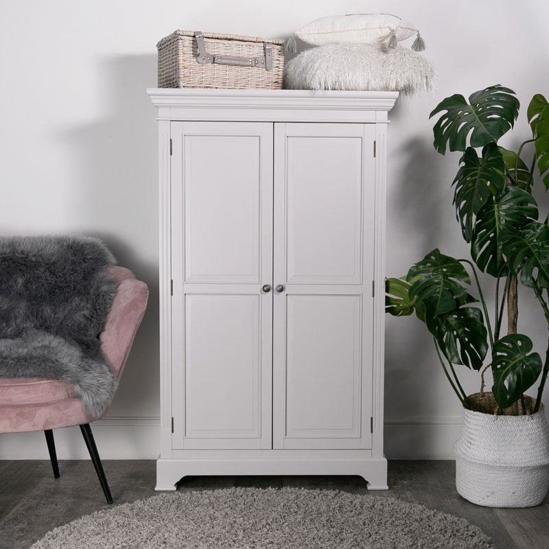 Large Grey Linen Closet / Low Wardrobe - Daventry Dove-Grey Range