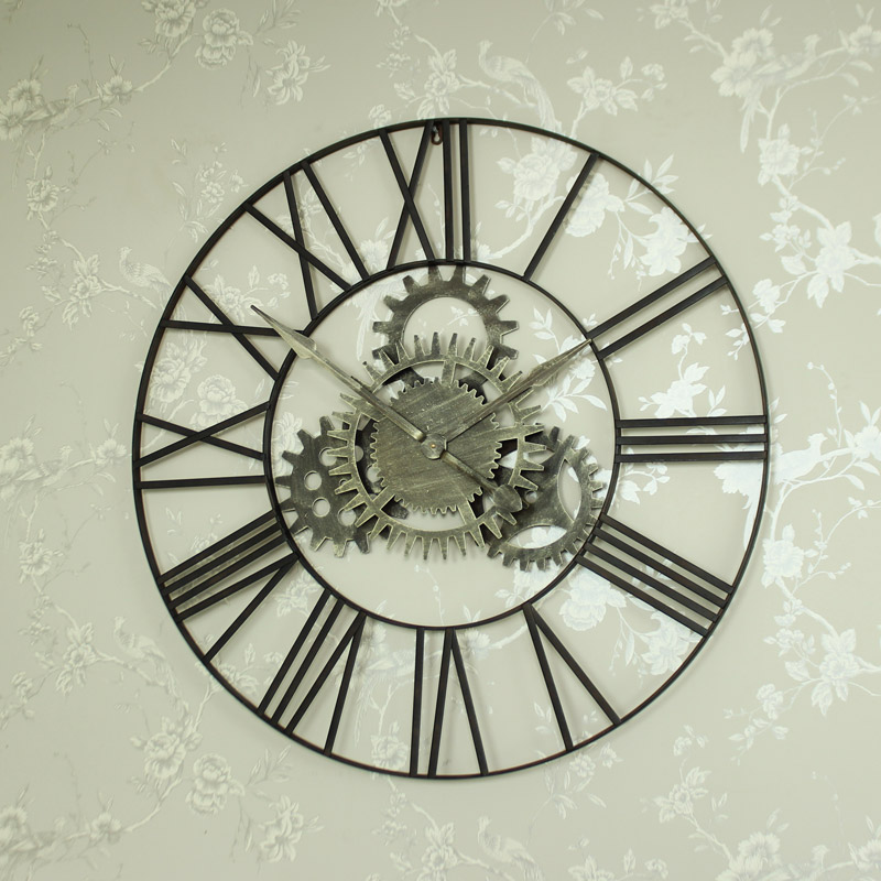 Large Metal Skeleton Cog Wall Clock