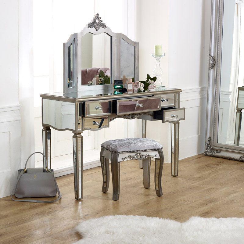 Large Mirrored Dressing Table Set, How To Mirror A Table