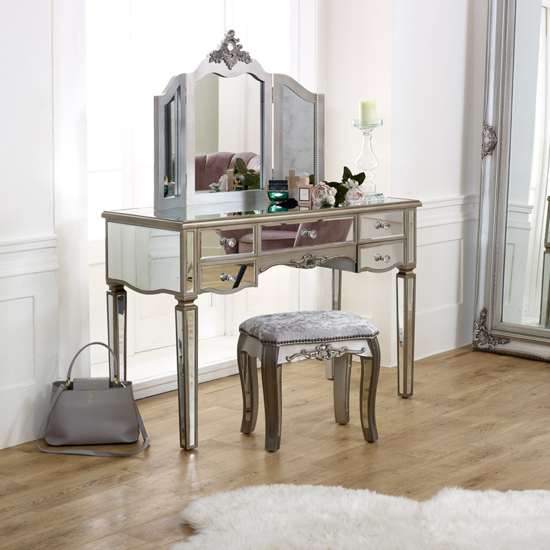 Large Mirrored Dressing Table Set, Glass Dressing Table Set