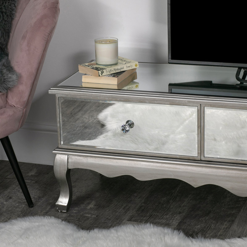 Large Mirrored Storage TV Cabinet - Tiffany Range