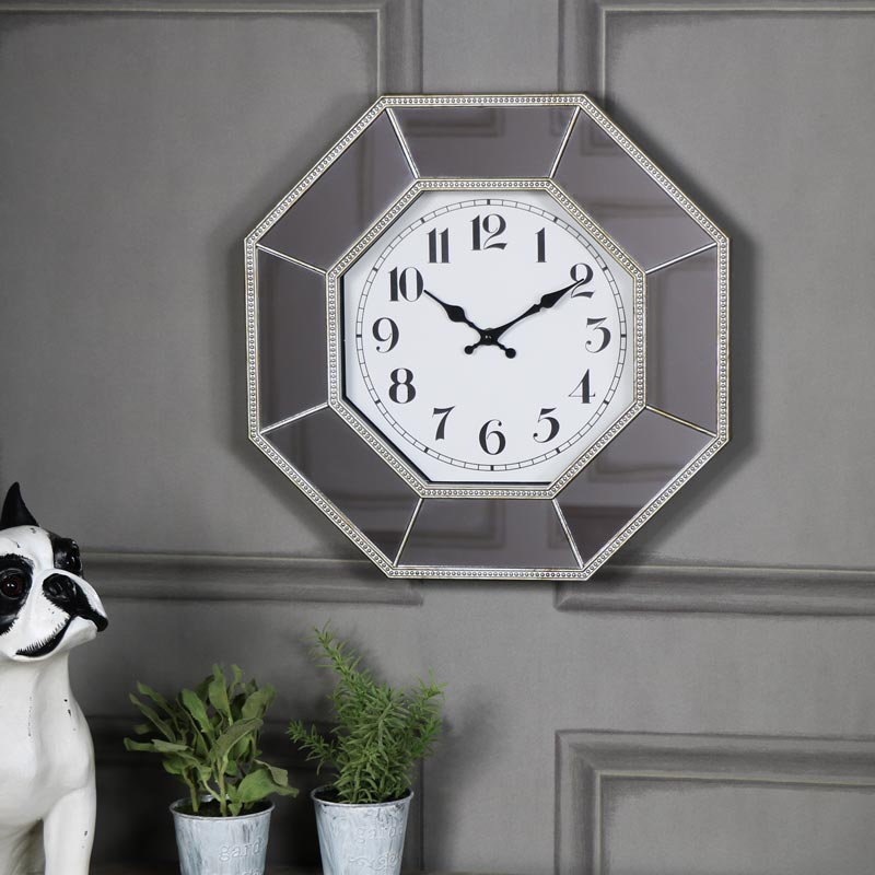 Large Octagonal Mirrored Wall Clock Melody Maison