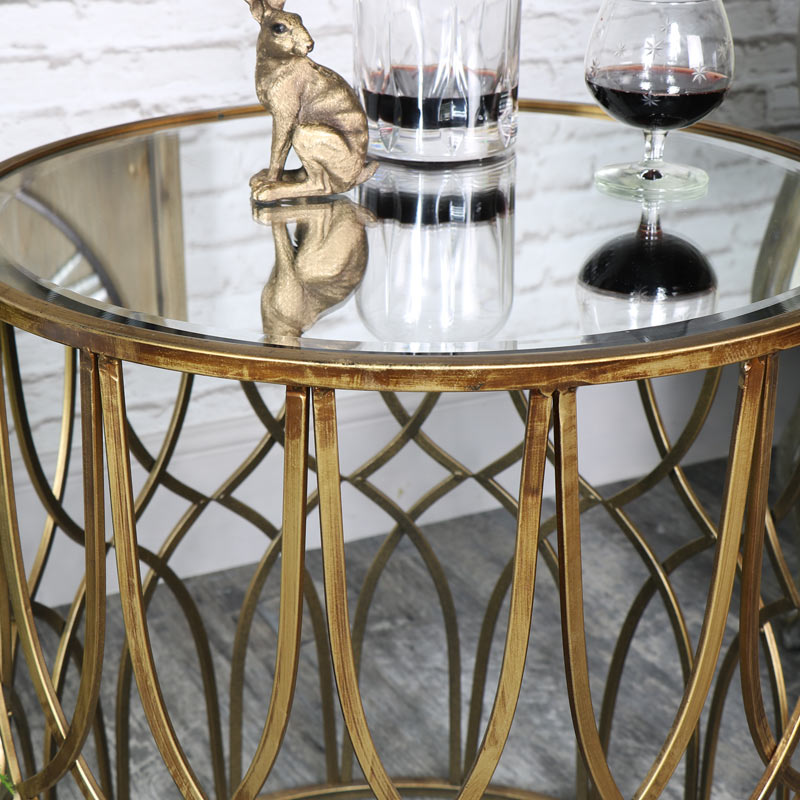 Exceptionnel ... Large Ornate Antique Gold Mirrored Side Table ...