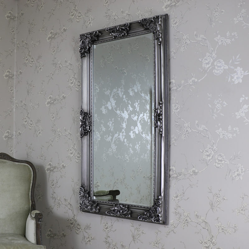 large ornate antique silver wallfloor mirror 70cm x 130cm
