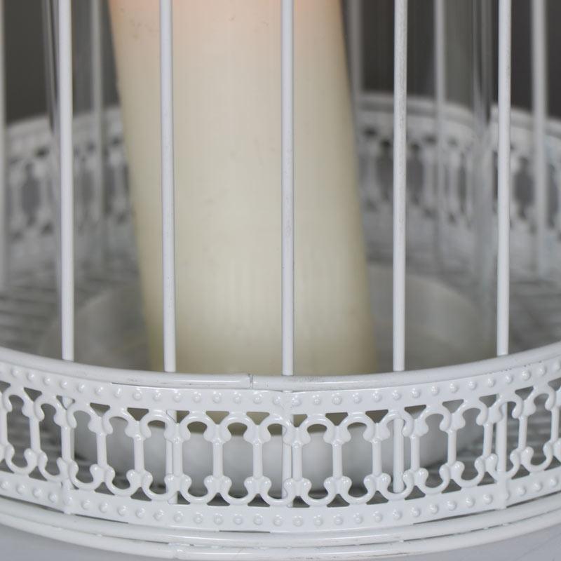 Large Ornate Antique White Birdcage Lantern Candle Holder