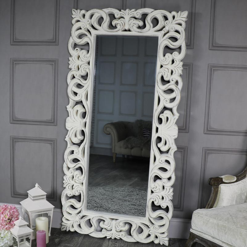 Large Ornate Antique White Wall Mounted Mirror Melody