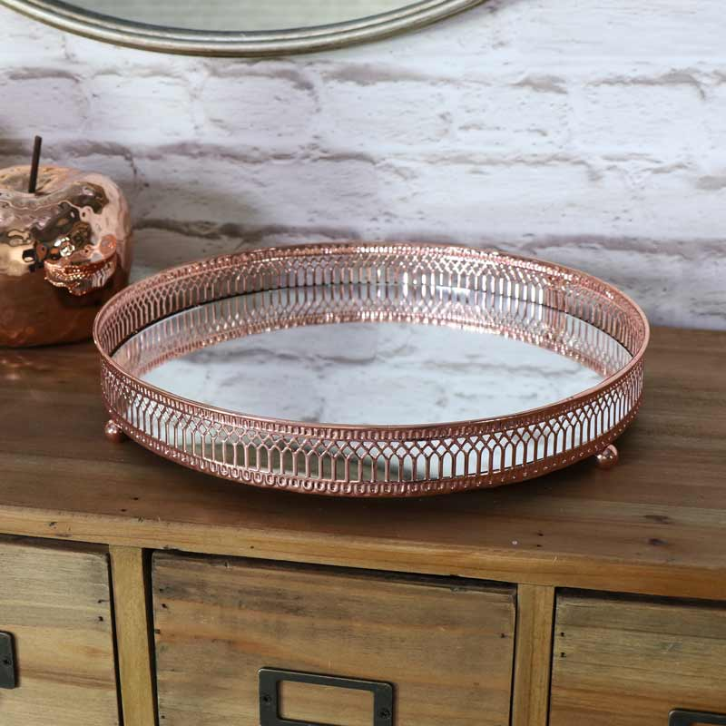 Large Ornate Copper Mirrored Tray