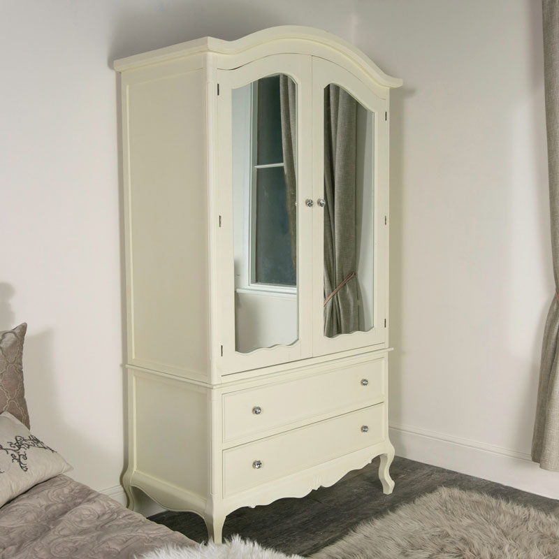 Cream Double Mirrored Wardrobe With Drawers - Elise Cream Range
