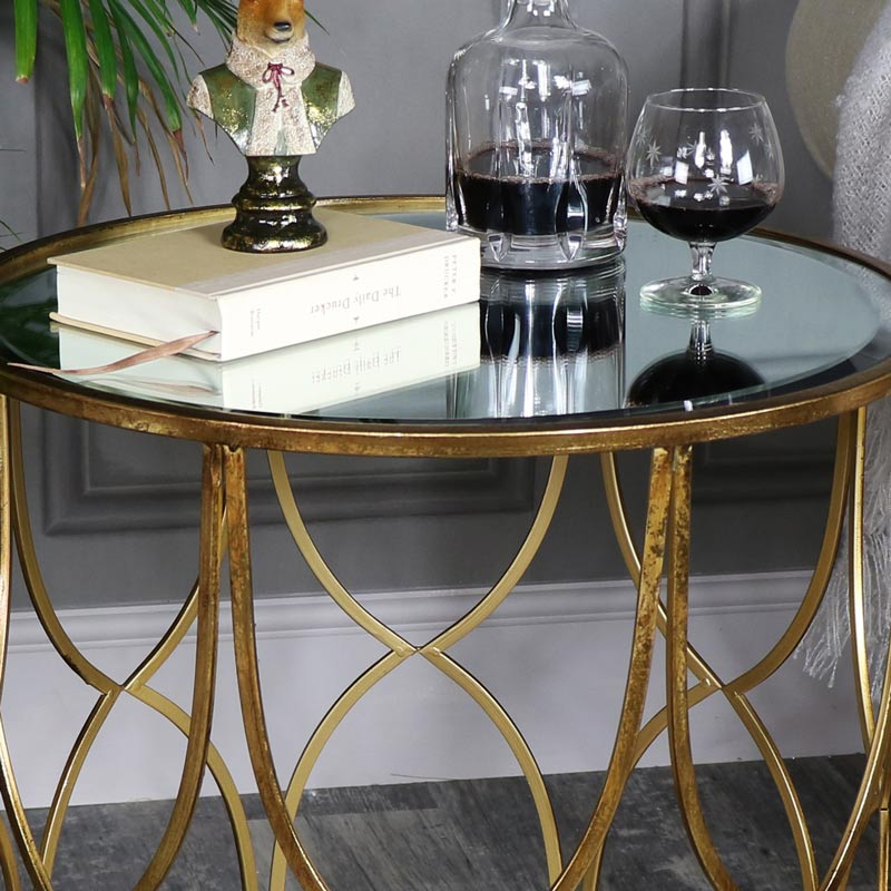 Large Ornate Gold Mirrored Side Table Large Ornate Gold Mirrored Side Table  ...